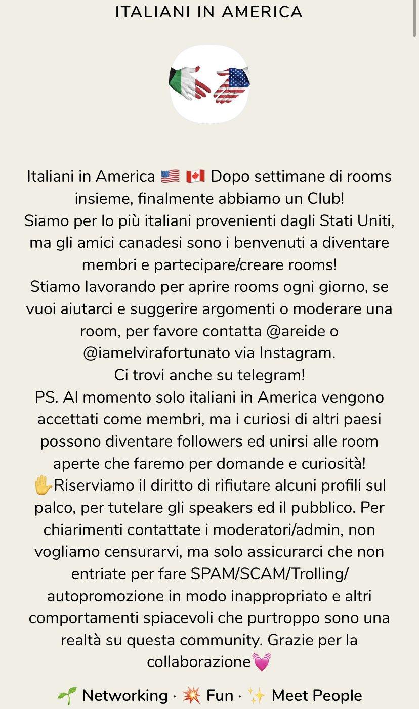 clubhouse italiani in usa